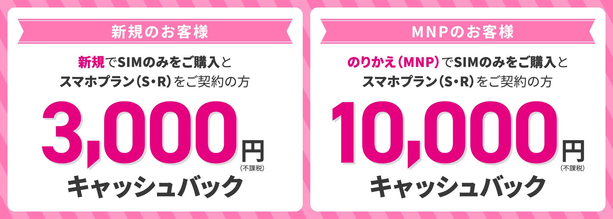 UQモバイルのキャッシュバックはMNP契約で10,000円、新規契約で3,000円となります。